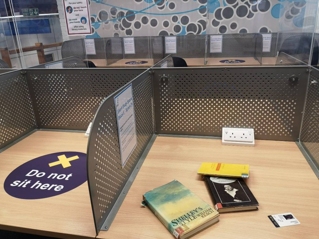 Desk during lockdown 2 at ARU Library