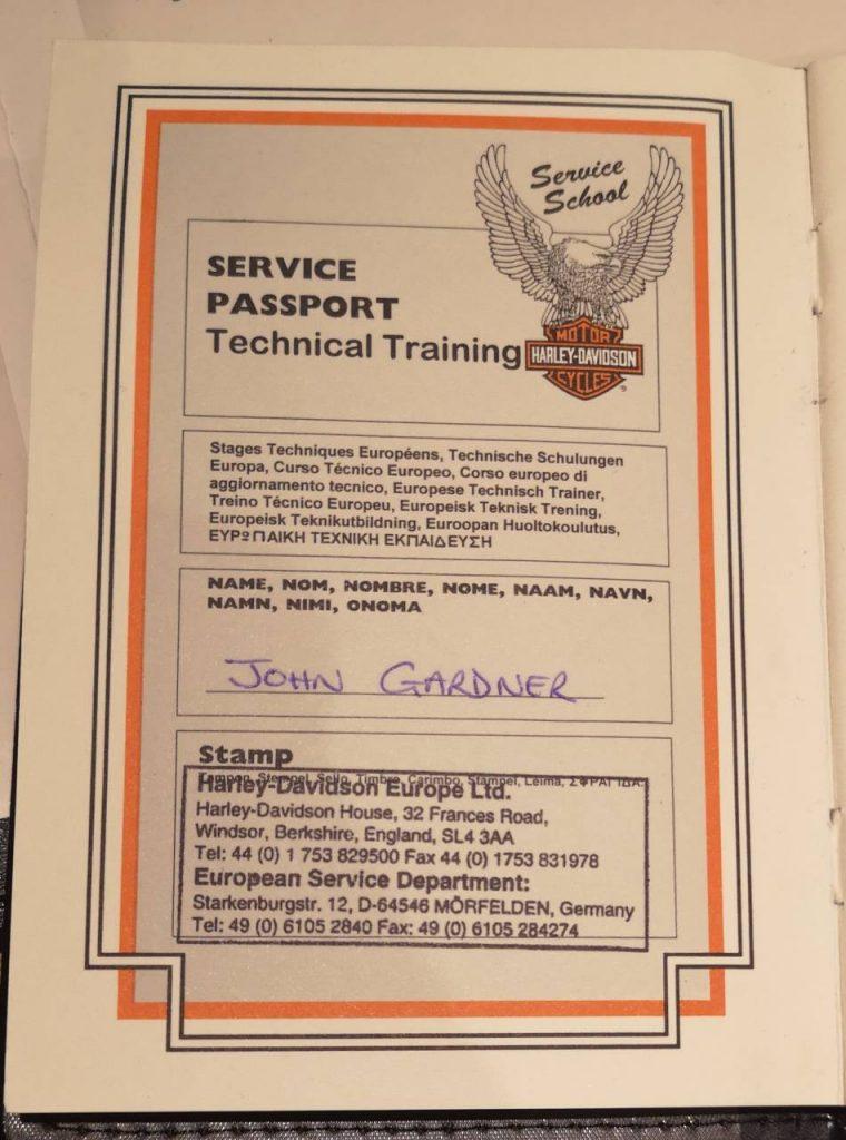 Harley Davidson papers for John Gardner